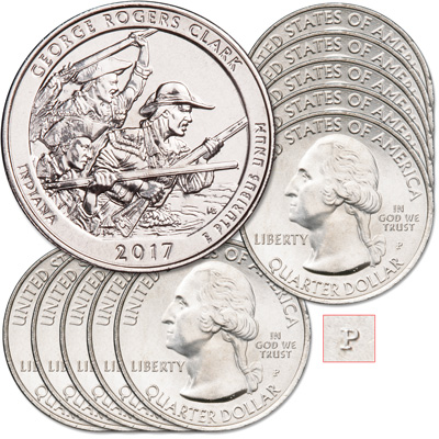Image for 2017-P Ten George Rogers Clark National Historical Park Quarters from Littleton Coin Company