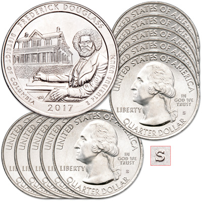 Image for 2017-S Ten Unc. Frederick Douglass National Historic Site Quarters from Littleton Coin Company