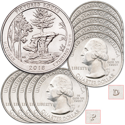 Image for 2018 5P & 5D Pictured Rocks National Lakeshore Quarter Set from Littleton Coin Company