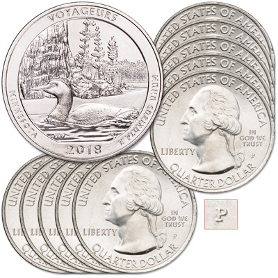 Image for 2018-P Ten Voyageurs National Park Quarters from Littleton Coin Company