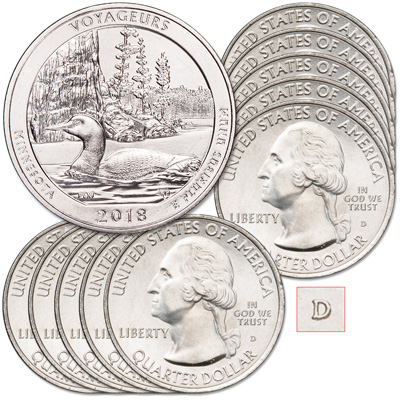 Image for 2018-D Ten Voyageurs National Park Quarters from Littleton Coin Company