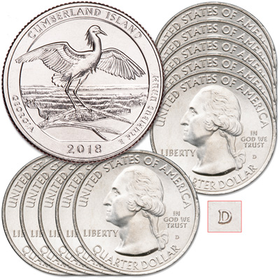 Image for 2018-D Ten Cumberland Island National Seashore Quarters from Littleton Coin Company