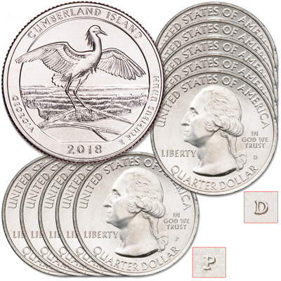 Image for 2018 5P & 5D Cumberland Island National Seashore Quarter Set from Littleton Coin Company