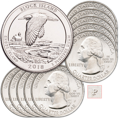 Image for 2018-P Ten Block Island National Wildlife Refuge Quarters from Littleton Coin Company