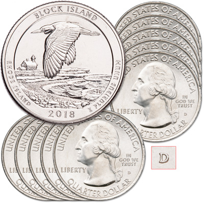 Image for 2018-D Ten Block Island National Wildlife Refuge Quarters from Littleton Coin Company