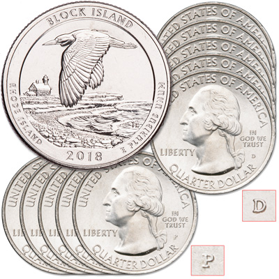Image for 2018 5P & 5D Block Island National Wildlife Refuge Quarter Set from Littleton Coin Company