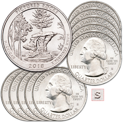 Image for 2018-S Ten Unc. Pictured Rocks National Lakeshore Quarters from Littleton Coin Company
