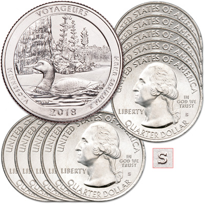 Image for 2018-S Ten Unc. Voyageurs National Park Quarters from Littleton Coin Company