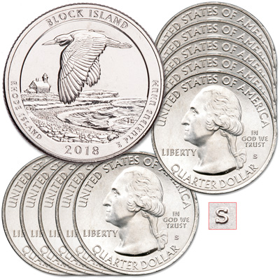 Image for 2018-S Ten Unc. Block Island National Wildlife Refuge Quarter from Littleton Coin Company