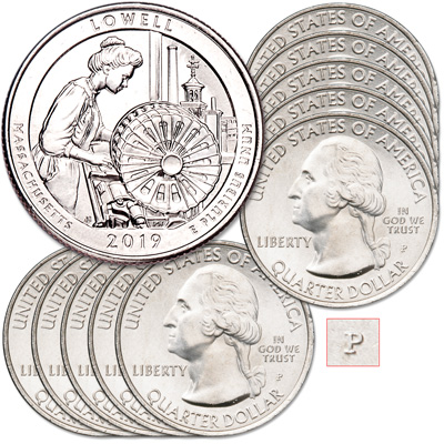 Image for 2019-P Ten Lowell National Historical Park Quarters from Littleton Coin Company
