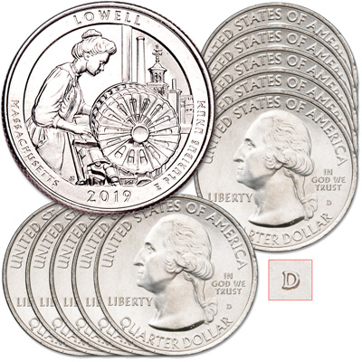 Image for 2019-D Ten Lowell National Historical Park Quarters from Littleton Coin Company