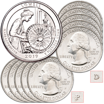 Image for 2019 5P & 5D Lowell National Historical Park Quarter Set from Littleton Coin Company