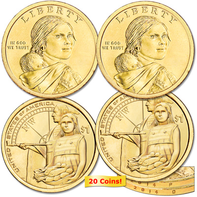 Image for 2014 Ten P&D Native American Dollar Sets (20 coins) from Littleton Coin Company