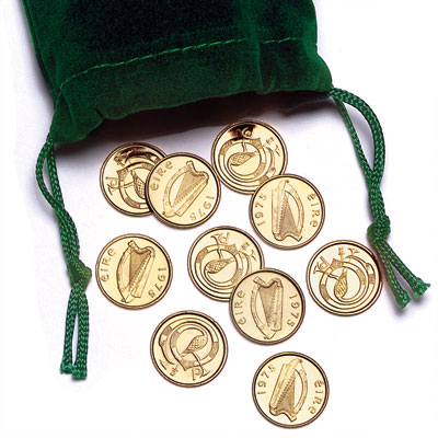 Image for 1975 Ten Gold-Plated Irish Half Pennies in Pouch from Littleton Coin Company