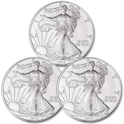 Image for 2014 Three $1 Silver American Eagles from Littleton Coin Company