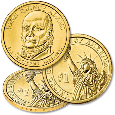 Image for 2008-P 10 John Quincy Adams Presidential Dollars, Uncirculated from Littleton Coin Company