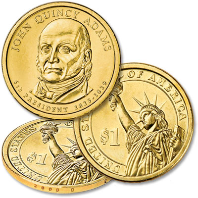 Image for 2008-D Five John Quincy Adams Presidential Dollars, Uncirculated from Littleton Coin Company