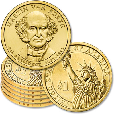 Image for 2008-P Five Martin Van Buren Presidential Dollars, Uncirculated, MS60 from Littleton Coin Company