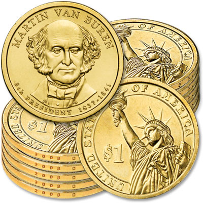 Image for 2008-D Ten Martin Van Buren Presidential Dollars, Uncirculated, MS60 from Littleton Coin Company
