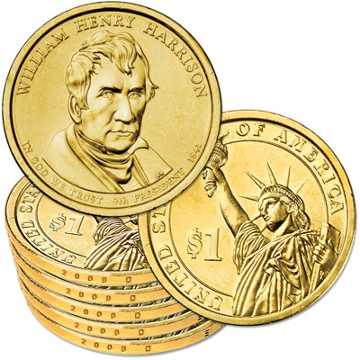 Image for 2009-D Five William Henry Harrison Presidential Dollars, Uncirculated, MS60 from Littleton Coin Company
