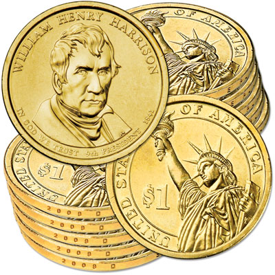 Image for 2009-D Ten William Henry Harrison Presidential Dollars, Uncirculated, MS60 from Littleton Coin Company
