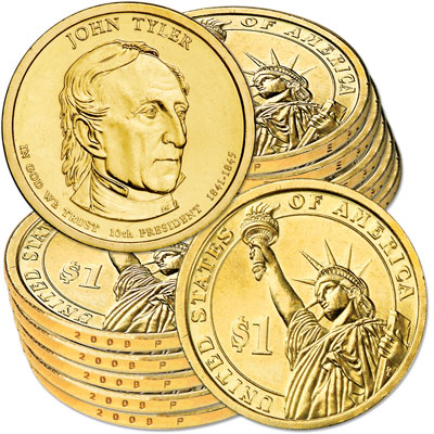 Image for 2009-P Ten John Tyler Presidential Dollars, Uncirculated, MS60 from Littleton Coin Company