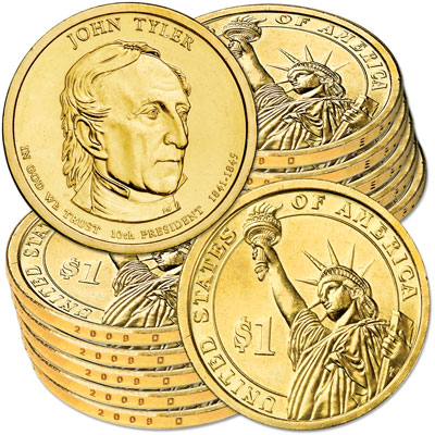 Image for 2009-D Ten John Tyler Presidential Dollars, Uncirculated, MS60 from Littleton Coin Company
