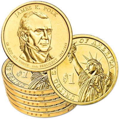 Image for 2009-D Five James K. Polk Presidential Dollars, Uncirculated, MS60 from Littleton Coin Company