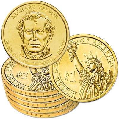 Image for 2009-P Five Zachary Taylor Presidential Dollars, Uncirculated, MS60 from Littleton Coin Company