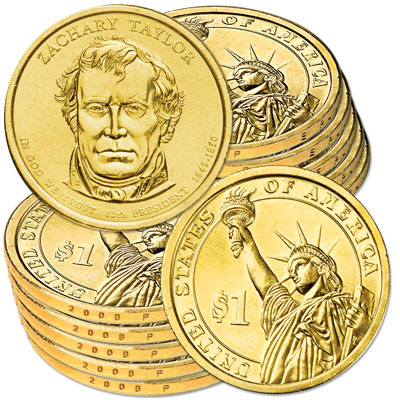 Image for 2009-P Ten Zachary Taylor Presidential Dollars, Uncirculated, MS60 from Littleton Coin Company