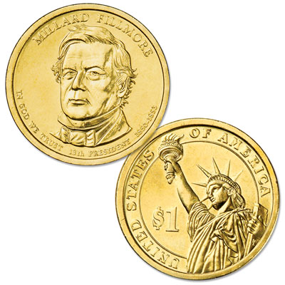 Image for 2010-P Ten Millard Fillmore Presidential Dollars, Uncirculated, MS60 from Littleton Coin Company