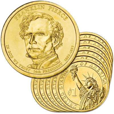 Image for 2010-P Ten Franklin Pierce Presidential Dollars, Uncirculated, MS60 from Littleton Coin Company
