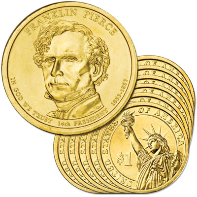 Image for 2010-D Ten Franklin Pierce Presidential Dollars, Uncirculated, MS60 from Littleton Coin Company