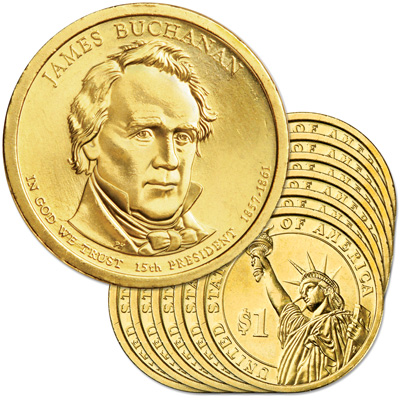 Image for 2010-P Ten James Buchanan Presidential Dollars, Uncirculated, MS60 from Littleton Coin Company