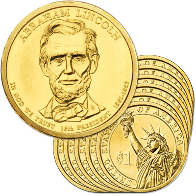 Image for 2010-D Ten Abraham Lincoln Presidential Dollars, Uncirculated, MS60 from Littleton Coin Company