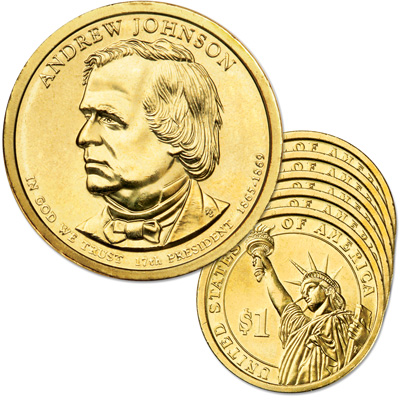 Image for 2011-D Five Andrew Johnson Presidential Dollars, Uncirculated, MS60 from Littleton Coin Company