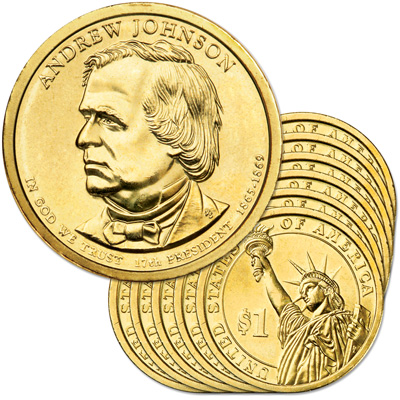 Image for 2011-D Ten Andrew Johnson Presidential Dollars, Uncirculated, MS60 from Littleton Coin Company