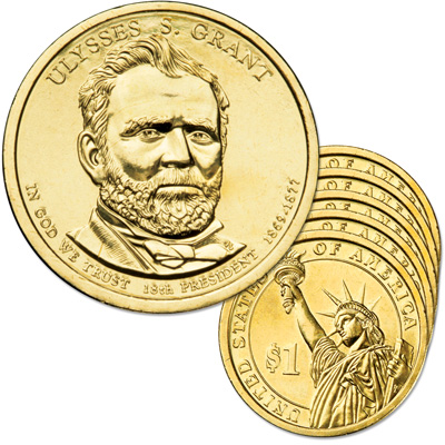 Image for 2011-D Five Ulysses S. Grant Presidential Dollars from Littleton Coin Company