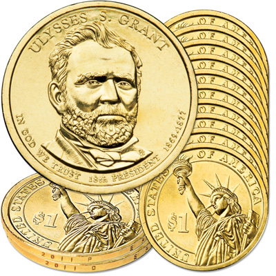 Image for 2011 10P & 10D Ulysses S. Grant Presidential Dollar Set from Littleton Coin Company