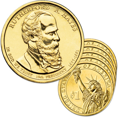 Image for 2011-D Five Rutherford B. Hayes Presidential Dollars from Littleton Coin Company