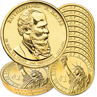 Image for 2011 10P & 10D Rutherford B. Hayes Presidential Dollar Set from Littleton Coin Company