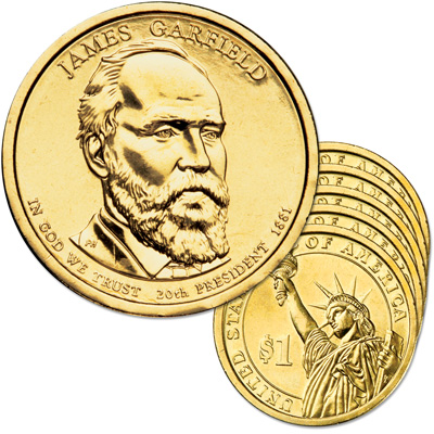 Image for 2011-P Five James A. Garfield Presidential Dollars from Littleton Coin Company