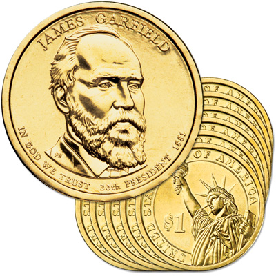 Image for 2011-P Ten James A. Garfield Presidential Dollars from Littleton Coin Company