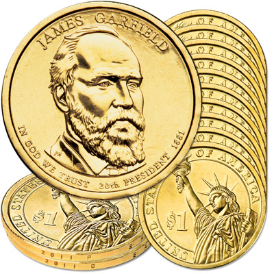Image for 2011 10P & 10D James A. Garfield Presidential Dollar Set from Littleton Coin Company