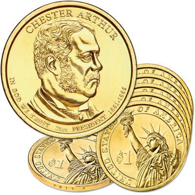 Image for 2012-P Five Chester A. Arthur Presidential Dollars from Littleton Coin Company
