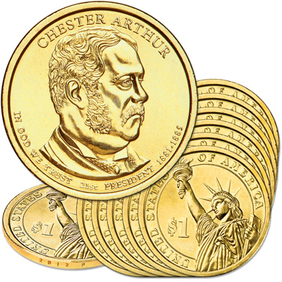 Image for 2012-P Ten Chester A. Arthur Presidential Dollars from Littleton Coin Company