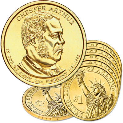 Image for 2012-D Five Chester A. Arthur Presidential Dollars from Littleton Coin Company