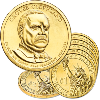 Image for 2012-D Five Grover Cleveland Presidential Dollars from Littleton Coin Company