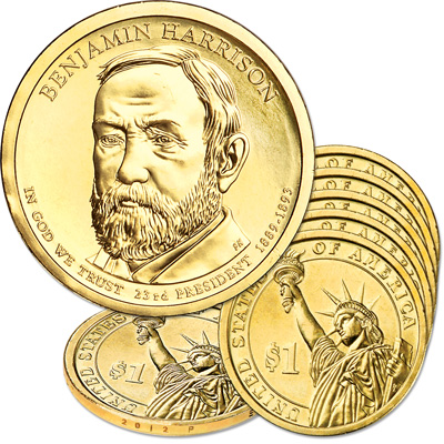 Image for 2012-P Five Benjamin Harrison Presidential Dollars from Littleton Coin Company