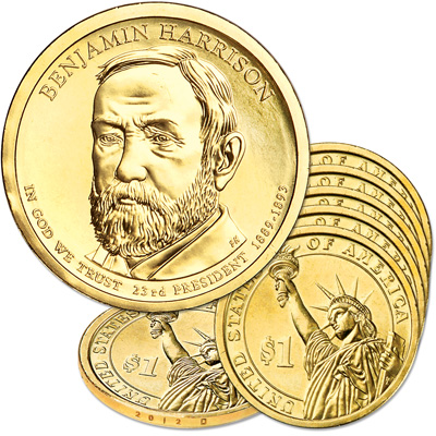 Image for 2012-D Five Benjamin Harrison Presidential Dollars from Littleton Coin Company
